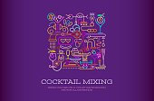 Vibrant colors on a dark violet background Cocktail Party Poster Design vector illustration