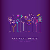 Neon colors on a dark violet background Cocktail Party vector poster template design. Ten different cocktail glasses and Cocktail Party text.