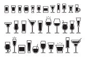 vector collection of isolated cocktails icons