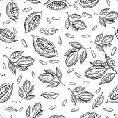 Cocoa branch vector seamless pattern. Superfood drawing. Isolated hand drawn  background on white background. Organic healthy food