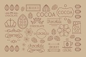 Cocoa Icon, logo, Signs and Badges. Vector Illustration Collection