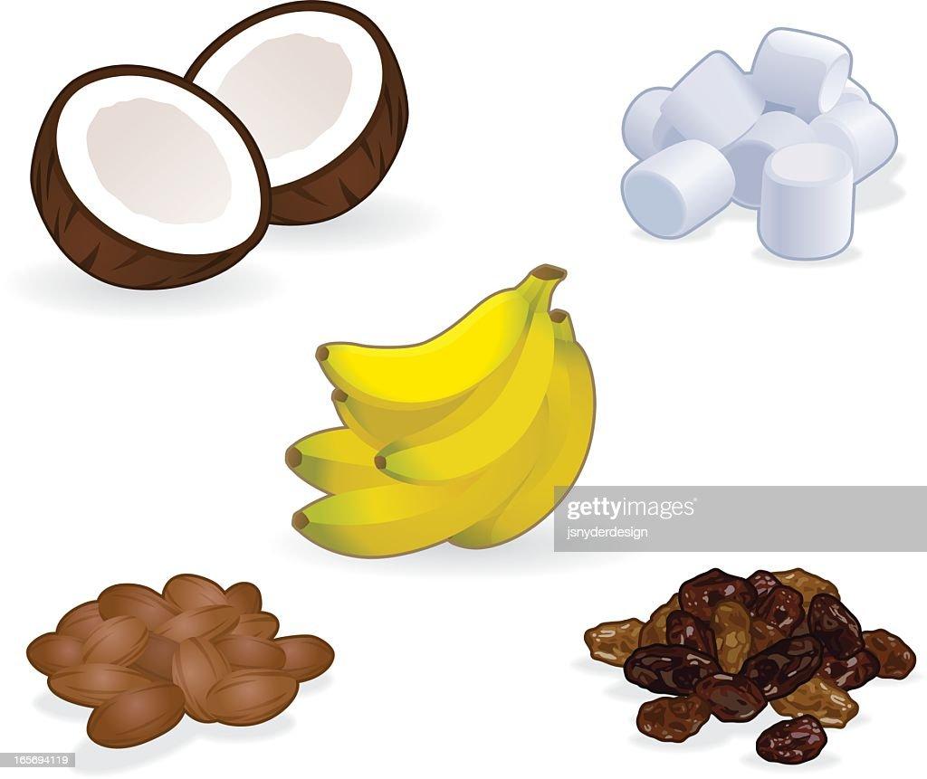 coconut banana almond raisin and marshmallow cartoons vector art
