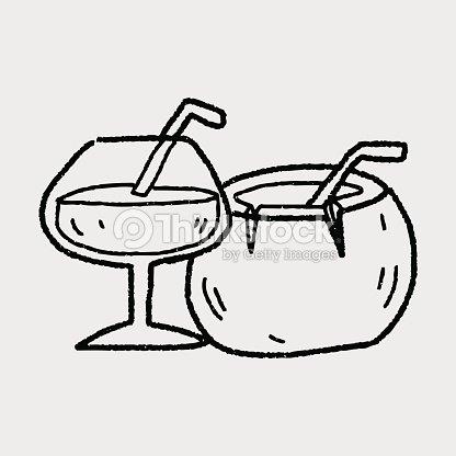 Coconut Drink Doodle Vector Art