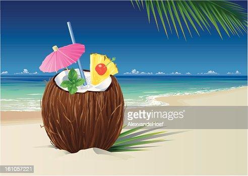 Coconut Pina Colada on the Beach : Vector Art
