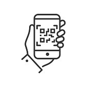 QR code scanner - line design single isolated icon on white background. An image of a hand holding a smartphone. High quality black pictogram