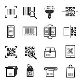 Code scanning icon set. Computer product examination using a scanner, price information. Vector illustration on white background