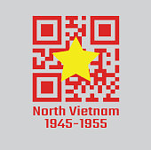 QR code set color of North Vietnam 1945 to1955, flag of Democratic Republic of Vietnam yellow star on red.