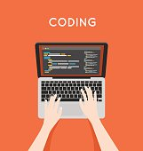 Coding php or html on laptop. Programming mobile app vector concept illustration.