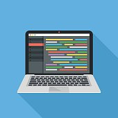 Coding, programming, web development concept. Source code editor with lines of code on laptop screen. Modern flat design graphic elements. Long shadow. Front view. Blue background. Vector illustration