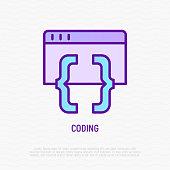 Coding thin line icon. Modern vector illustration of programming.