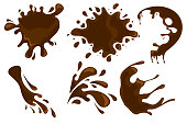 Coffee and chocolate drips and splashes on white background