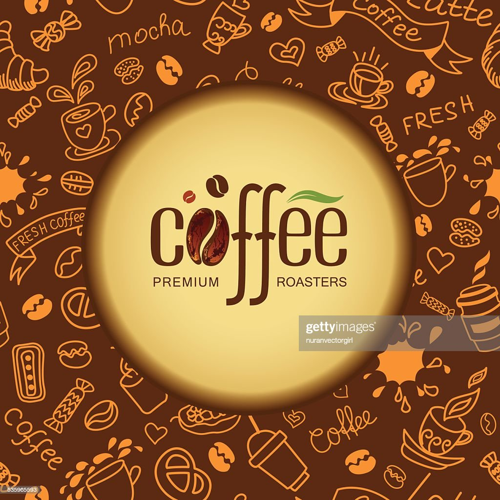 Coffee and tea background for packing. : Vector Art