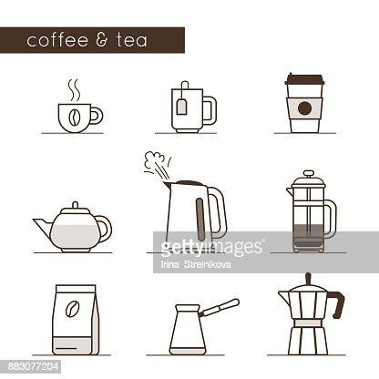 coffee and tea icons : stock vector
