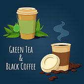 Vector illustration of two disposable paper cups. Cup of green tea with teabag and fresh green tea leaves. Cup of hot black coffee with coffee beans.