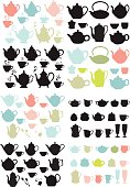 coffee and tea pots and mugs, set of vector design elements