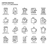Coffee and tea, square icon set. The illustrations are a vector, editable stroke, thirty-two by thirty-two matrix grid, pixel perfect files. Crafted with precision and eye for quality.