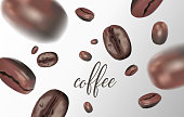 vividly flying coffee beans on white background. Blurred coffee beans, quality 3d. Vector illustration