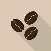 Coffee beans icon with long shadow on brown background, flat design style