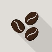 Coffee beans icon with long shadow on gray background, flat design style