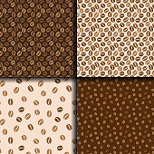 Coffee beans seamless background. Set of four patterns with coffee. Vector design.