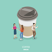 Coffee break flat isometric vector concept. Group of people are drinking coffee and chatting near the big paper coffee cup.