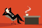Vector illustration showing a businessman taking a coffee break, resting at his desk.