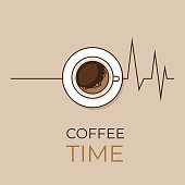 Coffee concept. Coffee and heartbeat  poster. Flat style, vector illustration.