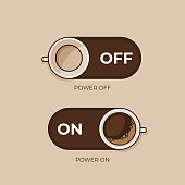 Coffee concept. Coffee and on off switch. Flat style, vector illustration.