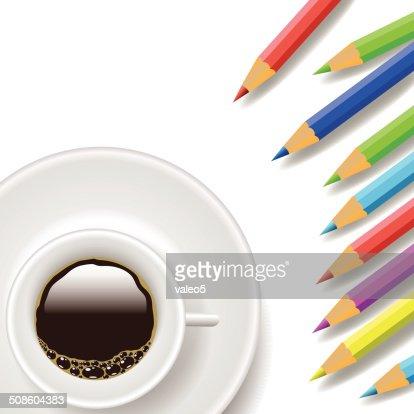 Copo de café e Lápis : Arte vetorial