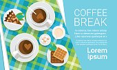 Coffee Cup Break Breakfast Drink Beverage Top View Flat Vector Illustration
