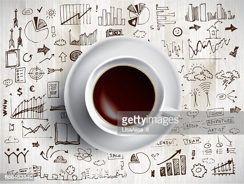 Coffee cup concept - business doodle with coffe mug : stock vector