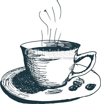 Kaffeetasse Heißer Kaffee Am Morgen Hand Gezeichnet Skizze