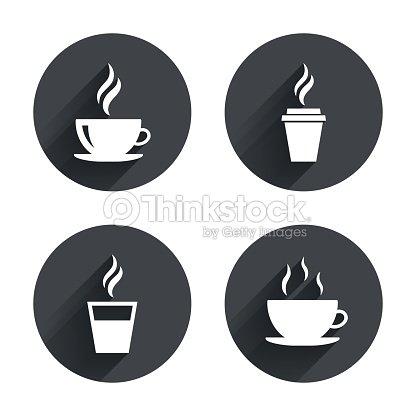Coffee Cup Icon Hot Drinks Glasses Symbols Vector Art Thinkstock