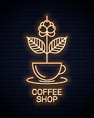 Coffee cup neon sign. Neon coffee branch concept on wall background