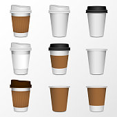 3d blank paper coffee cup realistic set isolated on white background. Vector illustration