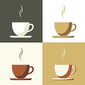 Coffee cup set  icon, flat simple vector.