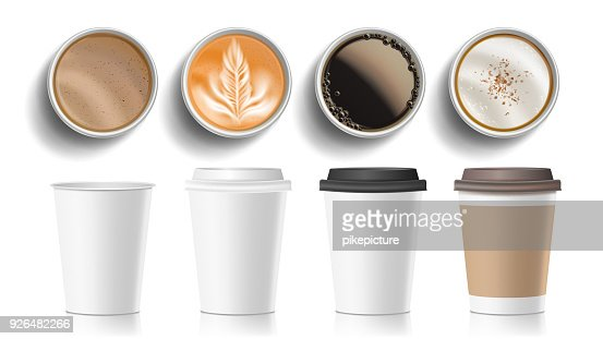 Coffee Cups Top View Vector. Plastic, Paper White Empty Fast Food Take Out Coffee Menu Mugs. Various Ocher Paper Cups. Breakfast Beverage. Realistic Isolated Illustration : stock vector