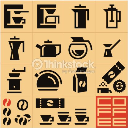 Coffee Icons Machine Vector Art