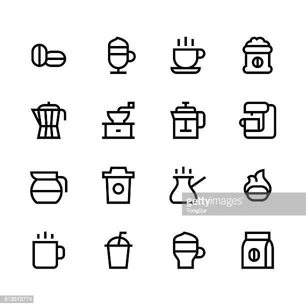 Kaffee-Linie-icons-Schwarz-Serie
