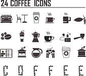 24 Coffee Icons Vector Art