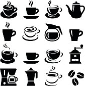 Coffee cup icon collection - vector silhouette and illustration