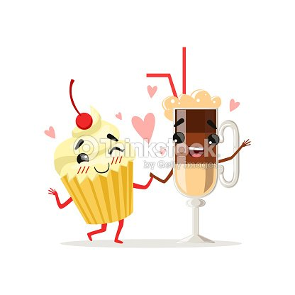 Coffee latte and cupcake with cherry on top. Cute food and drink characters in love. Cartoon vector illustration in flat style