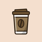 Coffee paper takeaway cup with coffee bean. Colorful isolated vector icon in flat style with outline for your project