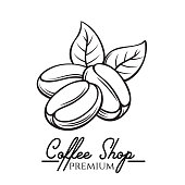 Hand drawn vector coffee bean. Coffee shop badge template for cafe label and emblem. Sketch style.
