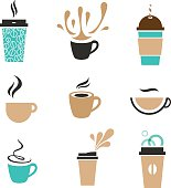 Trendy vector coffee signs. Disposable paper cup, cappuccino, classic espresso, latte takeaway.