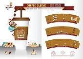 Coffee Sleeve Design Templates vector illustrations