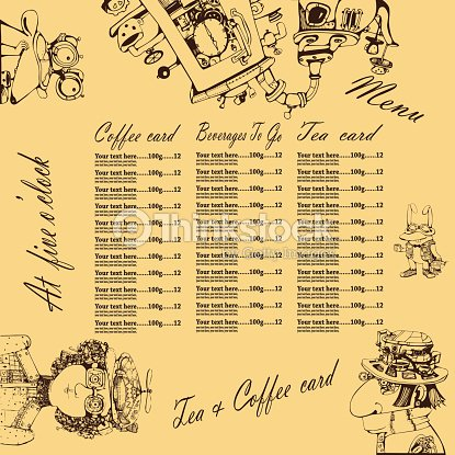 Kaffee Kuchen Karten Im Comicstil Vektorgrafik Thinkstock