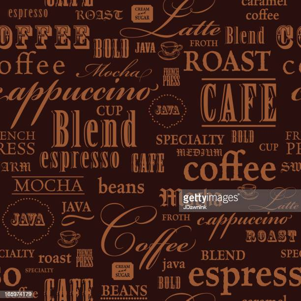 Coffee themed words repeating seamless background