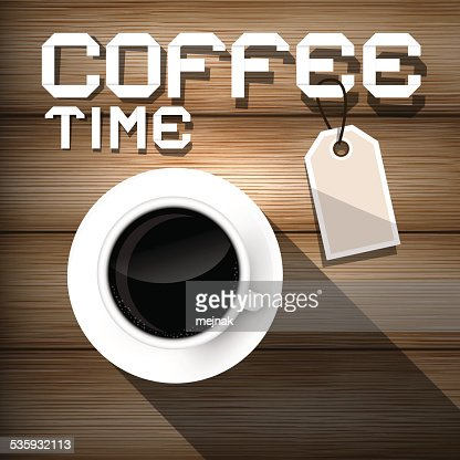 Coffee Time on Wooden Background : Vector Art