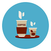 Coffee To Go Cups Icon On Blue Round Background Flat Vector Illustration